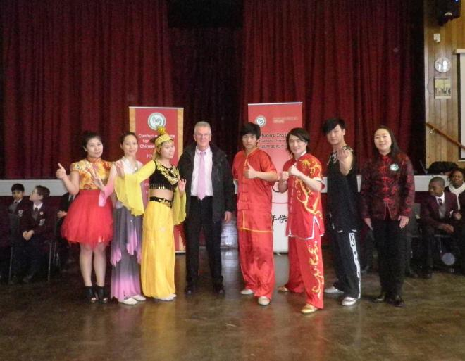 Group photo of the CITCM Performance Troupe with Mr Dwyer, deputy head teacher of St Joseph's College