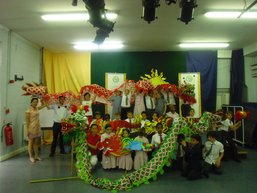 Students with Chinese dragon