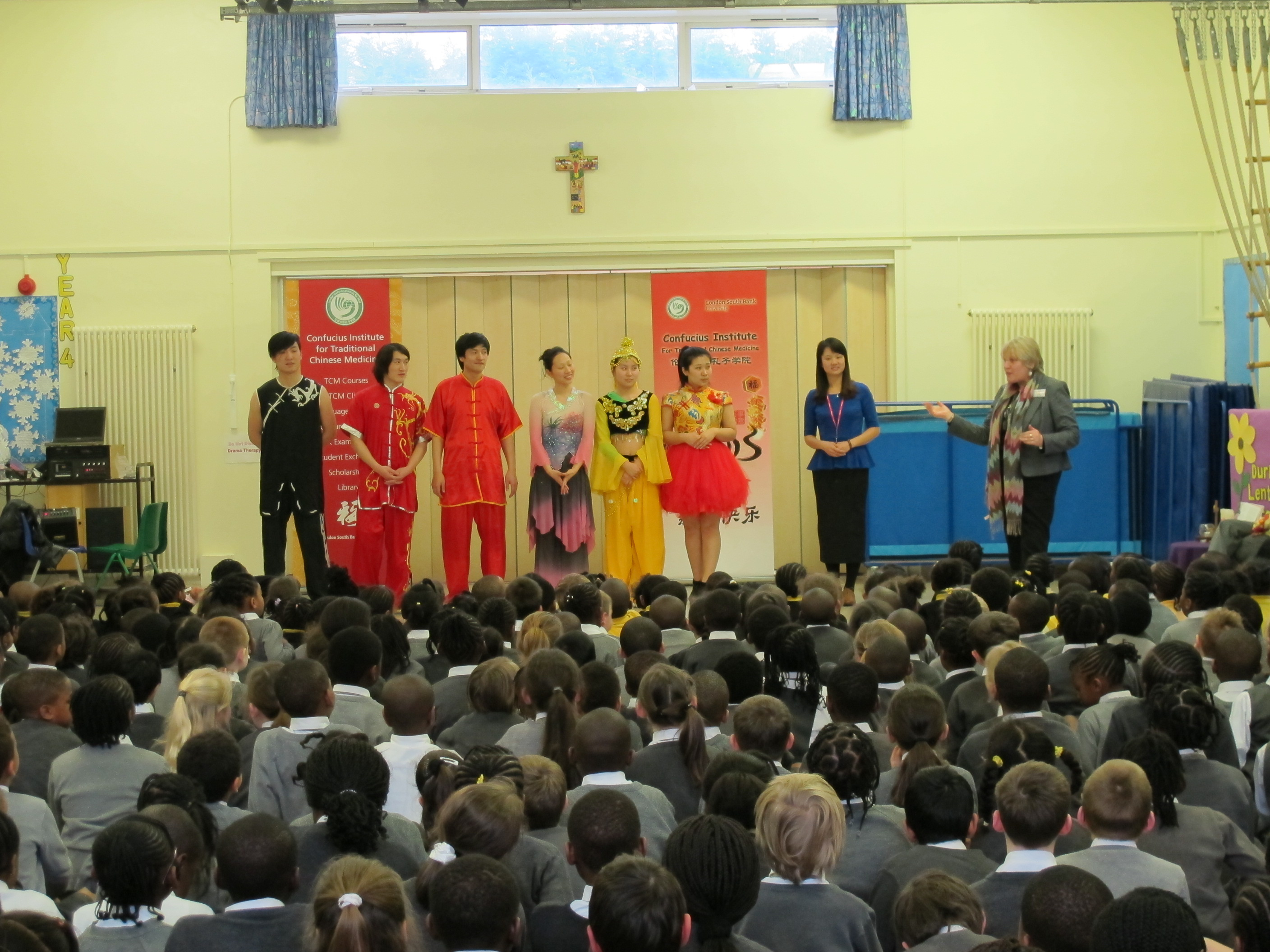 Mrs Ruiz, Head teacher of St Chad's Primary School expressing their thanks to the Performance Troupe