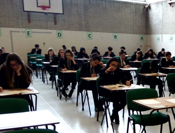 YCT Examination Room of the Confucius Classroom at Harris Academy Battersea – Students attentively sitting the exam