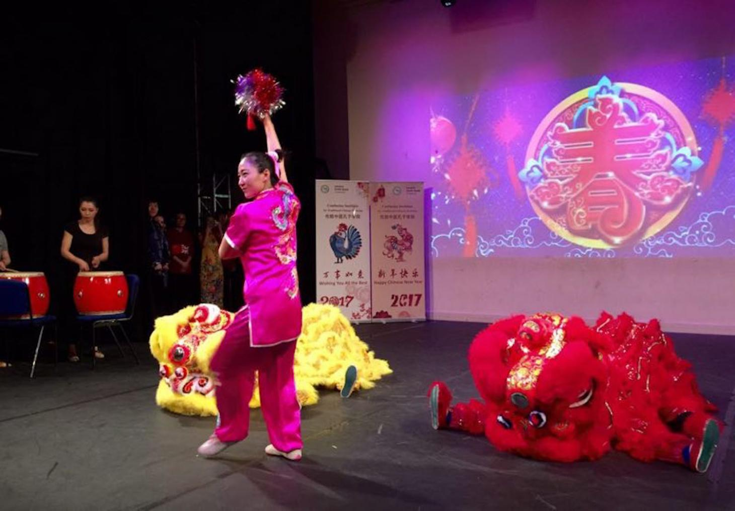 girl dancing lion dance
