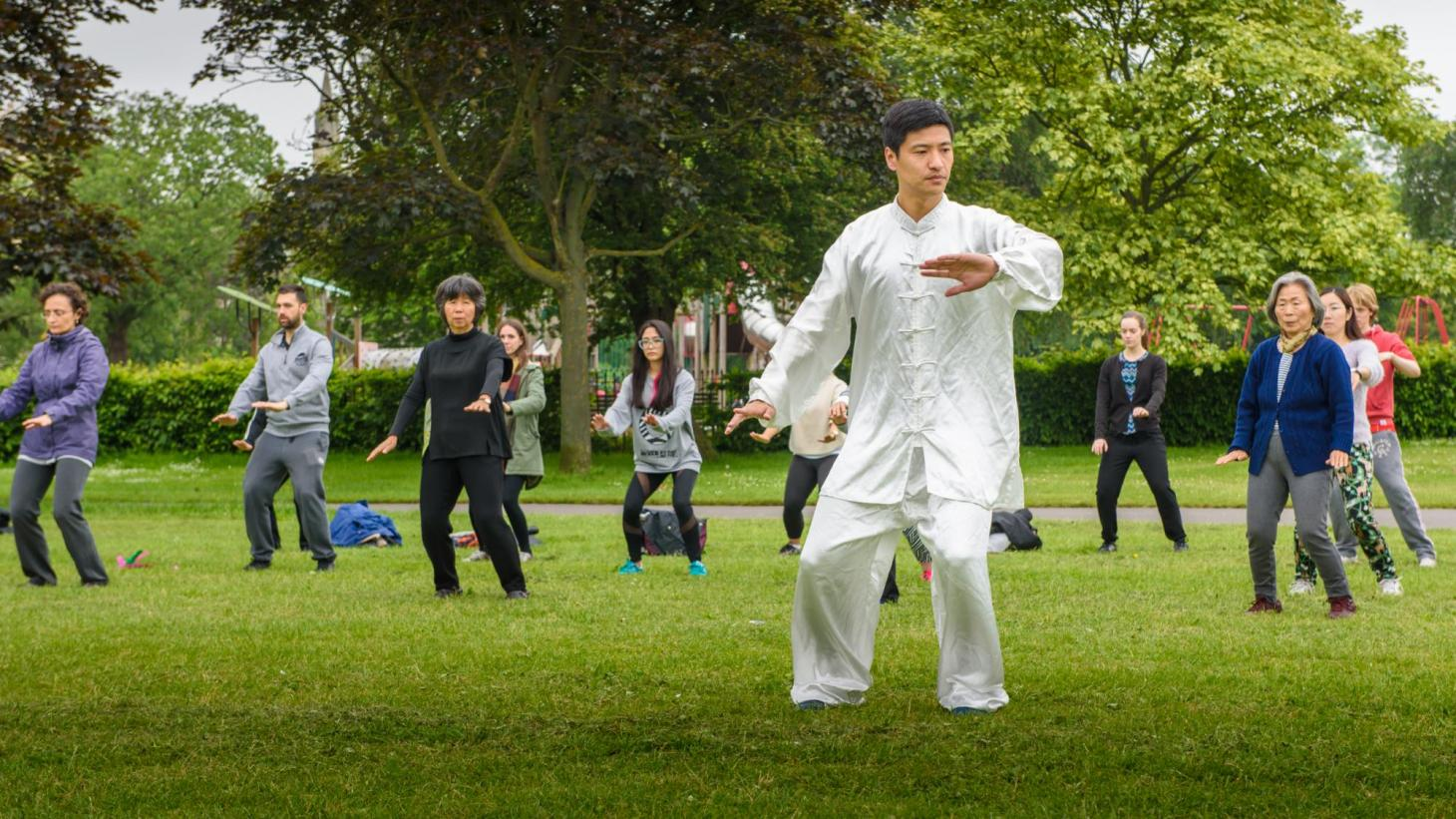 teaching Taiji in a park