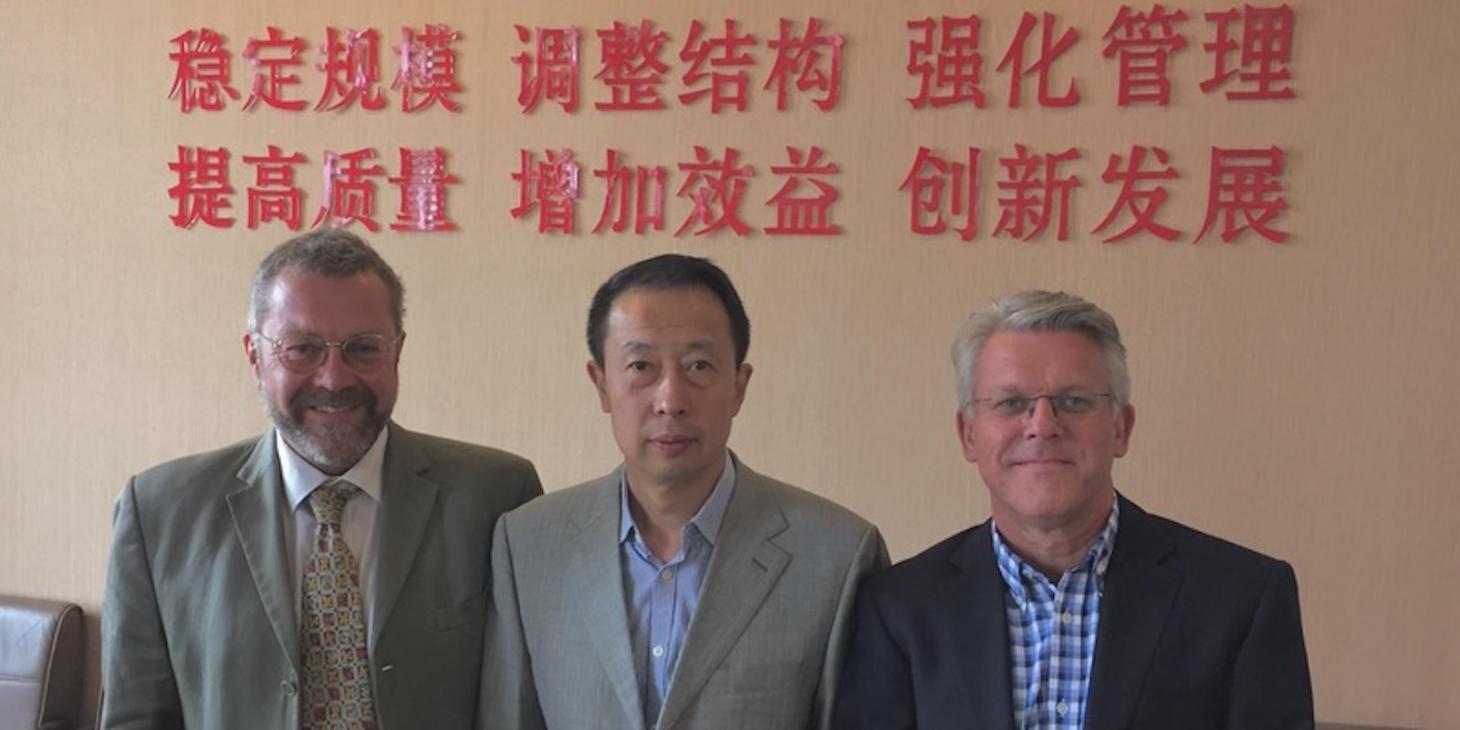 Professor Miao (centre), Associate Professor Andy Unger (left) and Associate Professor Chris Shepherd (right)