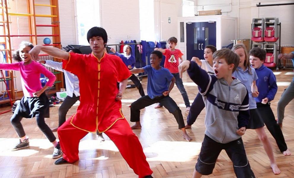 school martial arts class