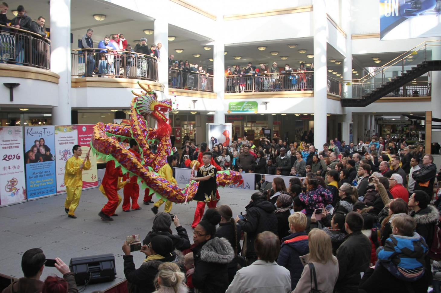The dragon swooped onto the stage to open the performance