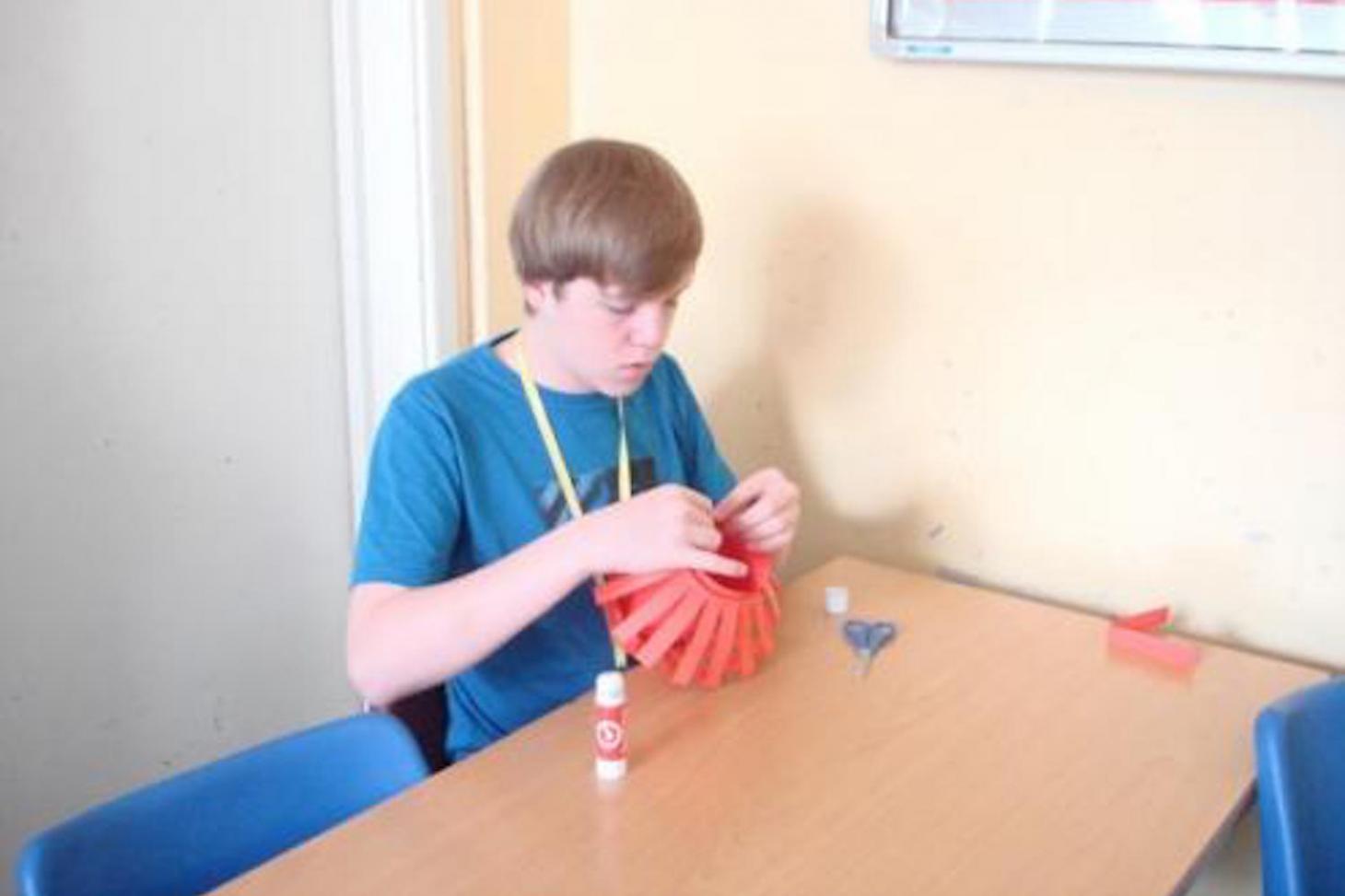 Carefully making a lantern