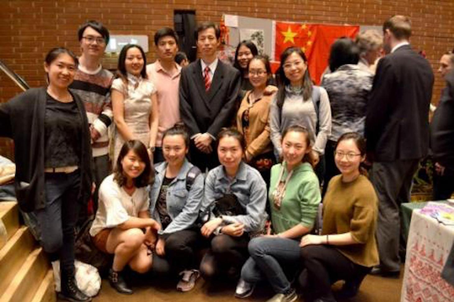 Counsellor Lu Zhi with the CITCM Performance Troupe