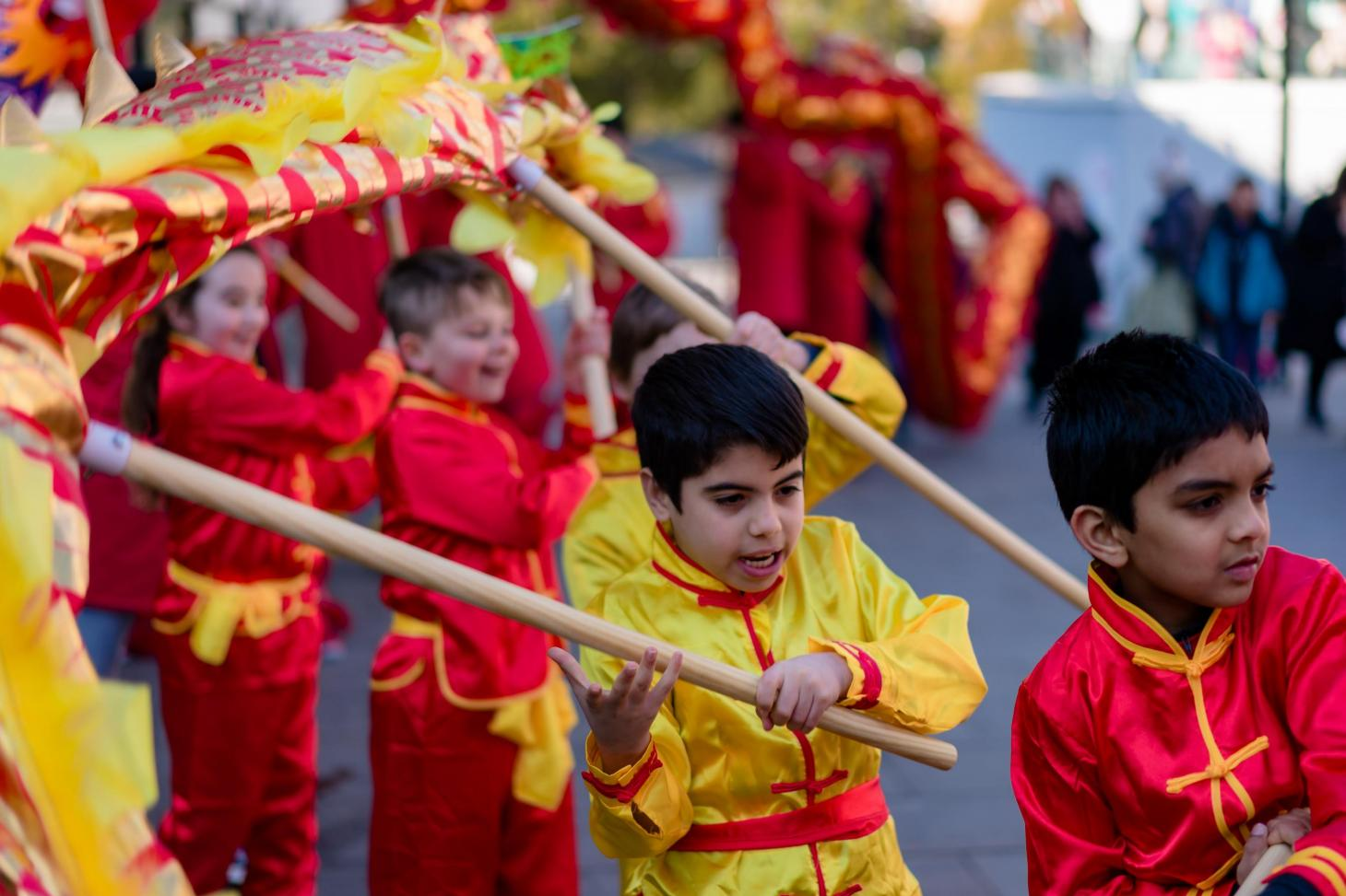 Children performing a Dragon Dance